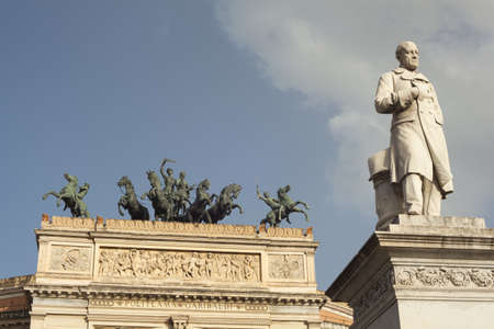 View of Ruggero Settimo - Roger the Seventh monument in the Politeama square, Palermo