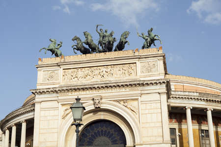 View of the Politeama theater in Palermo, Sicily. Italy
