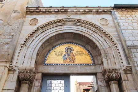 Entrance portal of the Euphrasian Basilica in Porec, Istria. Croatia Stock Photo