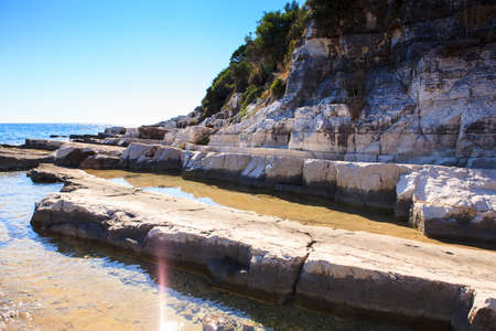The sea in the Saint Nicholas island, Porec. Istria peninsula in Croatia Stock Photo