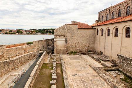 episcopal: Mosaic floor of the first Basilica in Porec, Istria. Croatia