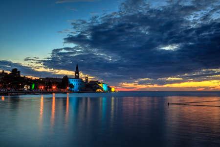 View of Porec skyline and sea at sunset, Istria. Croatia