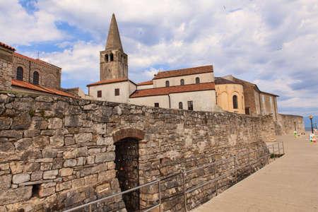 episcopal: Belltower of the Euphrasian Basilica in Porec, Istria. Croatia Stock Photo
