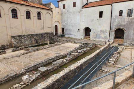 Mosaic floor of the first Basilica in Porec, Istria. Croatia