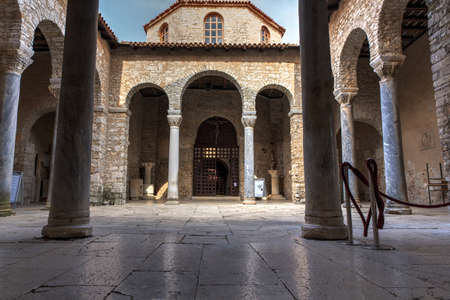 Atrium of the Euphrasian Basilica in Porec, Istria. Croatia
