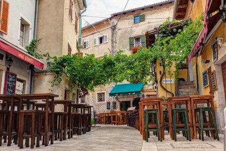 Restaurant table in Porec street, Istria. Croatia