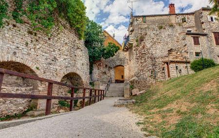 View of old house in Porec, Istria. Croatia