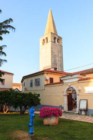 Belltower of the Euphrasian Basilica in Porec, Istria. Croatia Stock Photo