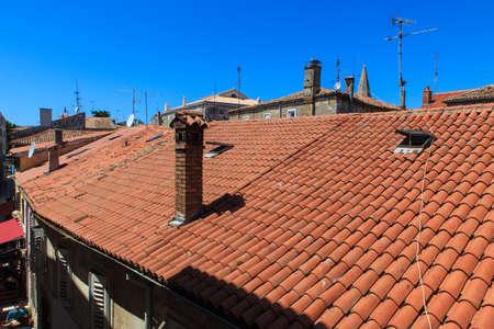 View of the roofs of Porec, Istria. Croatia