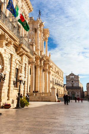 SIRACUSA, ITALY - DECEMBER, 31: The cathedral in Syracuse called Duomo di Santa Lucia was built by bishop Zosimo in the 7th century over the Temple of Athena (5th century BC) on December 31, 2017