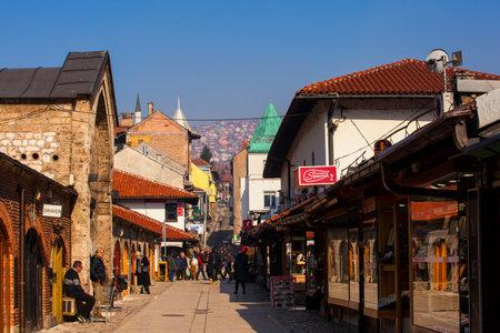 SARAJEVO, BOSNIA-ERZEGOVINA - FEBRUARY, 16: View of the Bascarsija historic district in Sarajevo - Bosnia and Herzegovina on February 16, 2018