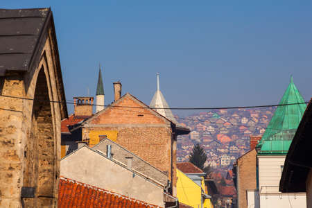 View of cupolas and roof houses in Sarajevo