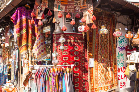 Typical clothes and handcraft exposed in the street market in Sarajevo
