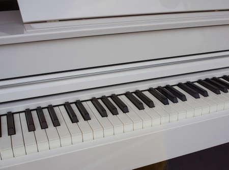 Close up of elegant white Piano keyboard