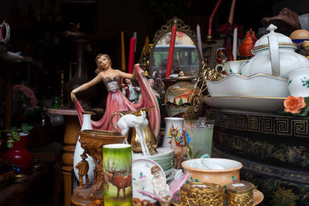 VIENNA, AUSTRIA - MAY, 22: Old vintage objects and furniture for sale at a flea market on May 22, 2018