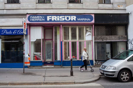 VIENNA, AUSTRIA - MAY, 22: Vintage hair stylist shop called Damen + Herren Frisor Marina on May 22, 2018