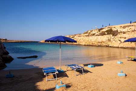 View of Cala Madonna beach in the summer season, Sicily 版權商用圖片