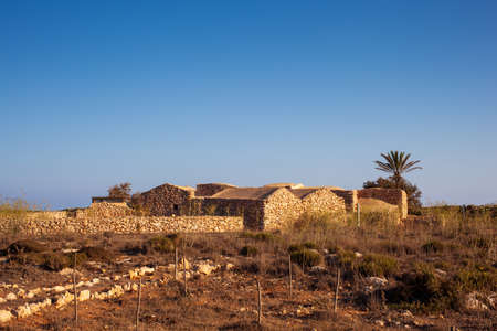 View of ancient house called Dammuso Casa Teresa in Lampedusa, Sicily