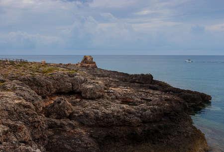 View of Lampedusa coast , Sicilian island in the middle of mediterranean sea Stock Photo