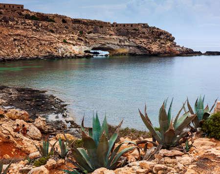 View of Mare Morto beach in Lampedusa. Sicily