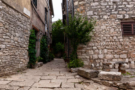 View of typical istrian alley in the Valley - Bale. Istria, Croatia