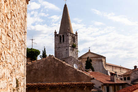 Bell tower of  church of Visitation of Blessed Virgin Mary to St. Elizabeth in Valle - Bale little town in Istria. Croatia Editorial