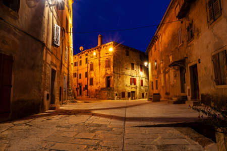 View of typical Istrian street at sunset in the Valley - Bale. Istria, Croatia Editorial