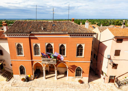 View of the city hall palace of Bale - Valle, Istria. Croatia