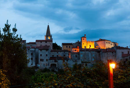 View of Valle - Bale little town in Istria at sunset. Croatia