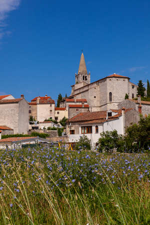 View of  church of Visitation of Blessed Virgin Mary to St. Elizabeth in Valle - Bale little town in Istria. Croatia Editorial