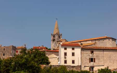 Bell tower of the Church of Visitation of Blessed Virgin Mary to St. Elizabeth in the Valley - Bale little town in Istria. croatia