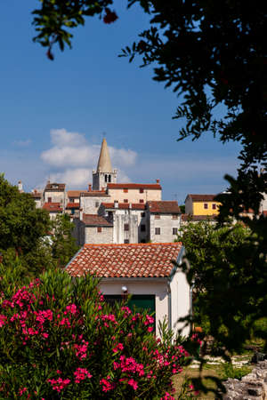 View of  church of Visitation of Blessed Virgin Mary to St. Elizabeth in Villa - Bale little town in Istria. Croatia