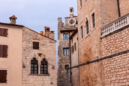 View of scenic venetian architecture in Bale - Valle, Istria. Croatia Editorial