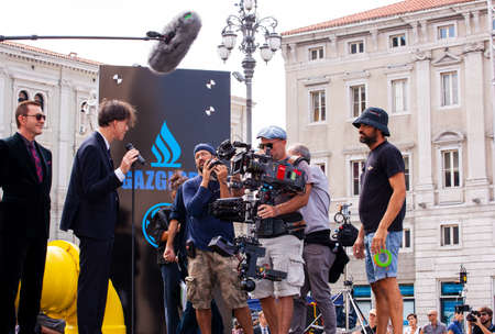 TRIESTE, ITALY - SEPTEMBER, 07: Behind the scene. Film crew team filming Il Ragazzo invisibile directed by Gabriele Salvatores on September 07, 2016