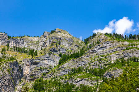 View of mountain from waterfall Savica in the Triglav nacional park.