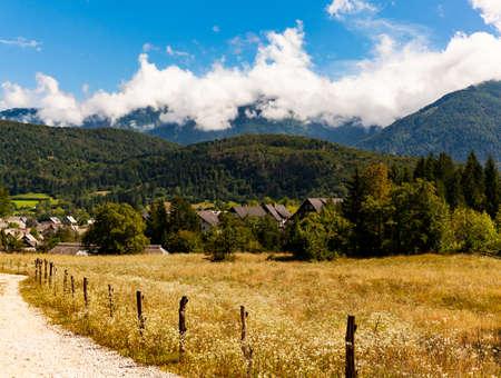View of Slovenian chalet in Stara Fuzina little town near Bohinj, Slovenia