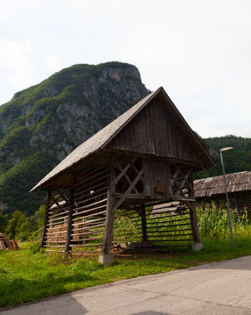 View of typical structural wood called Hayracks used for fodder dryer , Studor. Slovenia