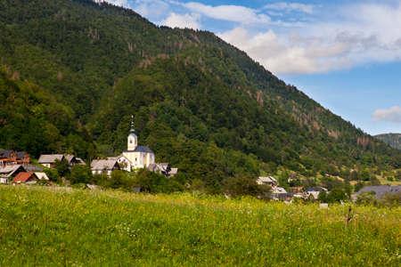 View of typical Slovenian church in Studor little town near Bohinj, Slovenia