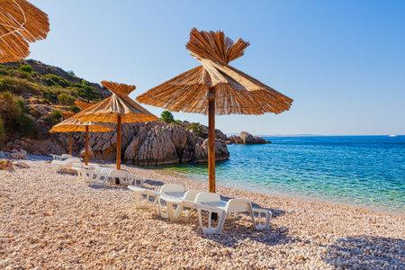 View of the dry stone wall in the Baska coast in the Krk island. Croatia