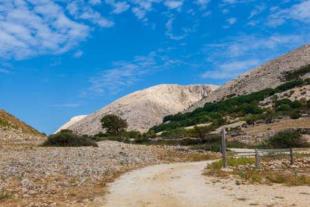 View of bare hills in Stara Baska, Krk island in Croatia
