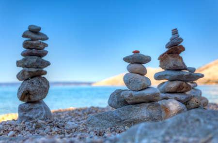 Stack of stones on the Stara Baska beach, Krk. Croatia