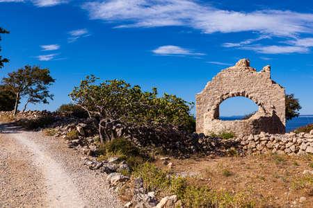 View of the ruins of the St. Hieronymus church in Stara BaÅ¡ka, krk. Croatia Stok Fotoğraf