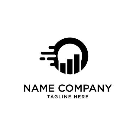 Initial O statistics business chart bar fast grow logo Premium Vector