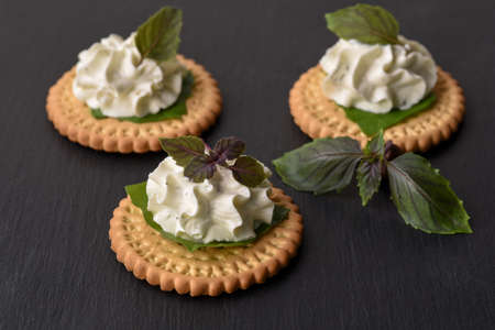 Bisquit cracker appetizers with cream cheese and basil topping on black stone background