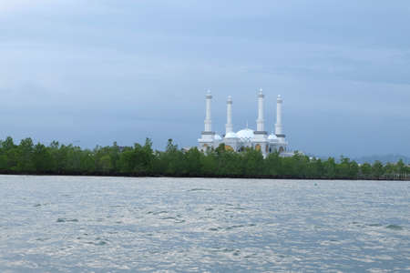 Mosque Hidayaturrahman - Islamic Center Nunukan, Indonesia, seen from the middle of the sea