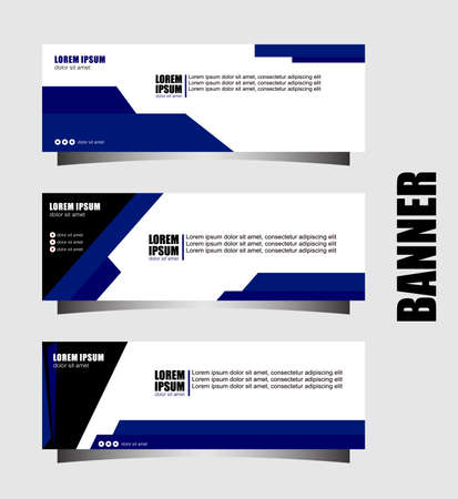 Set of three abstract vector banners.modern template design for website.blue