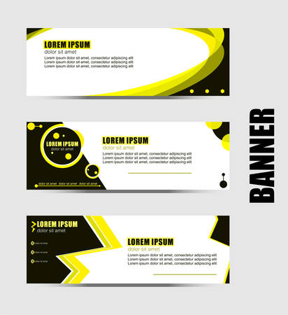 Set of three abstract vector banners.modern template design for website.geometric style web banners.yellow