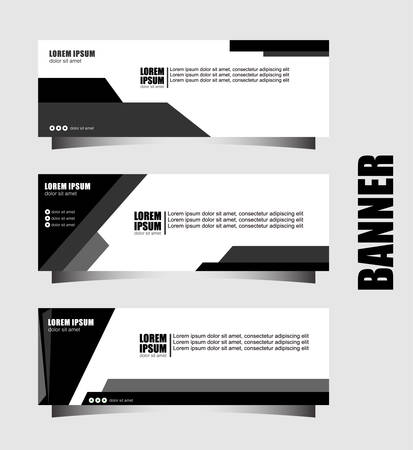 Set of three abstract vector banners.modern template design for website.geometric style web banners.black
