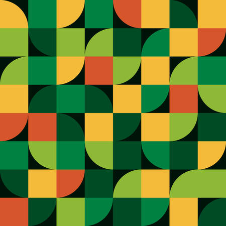 Abstract seamless pattern. Stylish fabric print with square and half circle. Creative textile background for batik or cloth. Vector Design Inspiration green color  イラスト・ベクター素材