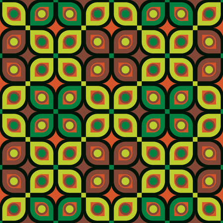 Abstract Vector seamless pattern. Stylish fabric print with geometric grid. Creative textile background for batik or cloth. Design Inspiration green color